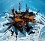 """waterguns"" - oil on linen 72""x72"" 2006"